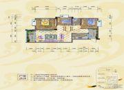 银海富都3室2厅2卫104平方米户型图