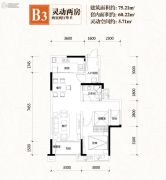 凤凰湾2室2厅1卫60平方米户型图