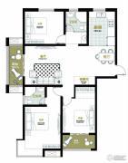 澜庭・观邸3室2厅1卫136平方米户型图