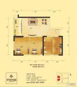 府河名居2室2厅1卫68平方米户型图