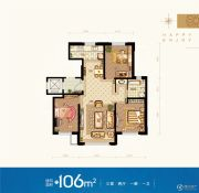 领秀蓝珀湖3室2厅1卫106平方米户型图