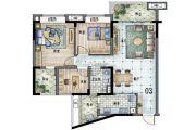 保利林语3室2厅1卫103平方米户型图