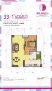 温资金港中心1室2厅1卫60平方米户型图