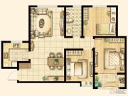 尚品燕园3室2厅1卫109平方米户型图