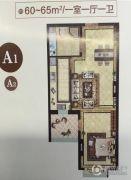万达・维多利亚湾1室1厅1卫60--65平方米户型图