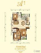 建业龙城3室2厅2卫144平方米户型图