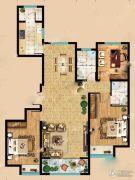 东岳国际3室2厅2卫143平方米户型图
