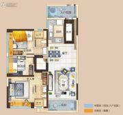 碧桂园玺悦3室2厅2卫96平方米户型图