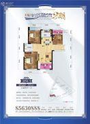 天纵半岛蓝湾3室2厅1卫93平方米户型图