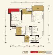 保利玫瑰花语3室2厅1卫78平方米户型图