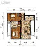 绿城・风华园2室2厅1卫83平方米户型图