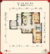 绿宸万华城3室2厅2卫106平方米户型图