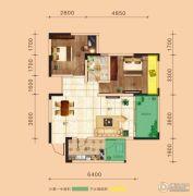 金鹏两江时光2室2厅0卫64平方米户型图