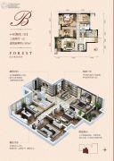 林邑3室2厅1卫107平方米户型图