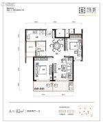 朗诗乐府2室2厅1卫82平方米户型图