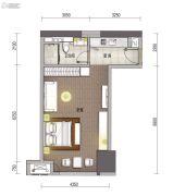 华强商业金融中心1室1厅1卫62平方米户型图