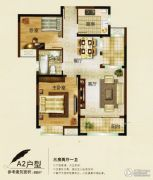 中央华府3室2厅1卫98平方米户型图