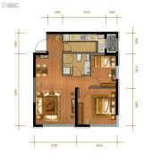 中冶・德贤公馆2室2厅1卫77平方米户型图