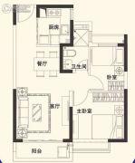 恒大名都2室2厅1卫71平方米户型图