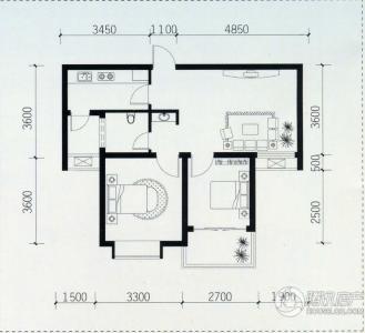 宝安江南城多层一梯三户标准层户型2室1