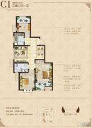 信达蓝庭福邸3室2厅1卫93平方米户型图