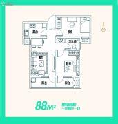 安联生态城3室2厅1卫88平方米户型图