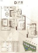 中鼎・君和名城3室2厅2卫107--114平方米户型图