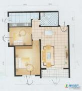 滨海新城2室2厅1卫84平方米户型图