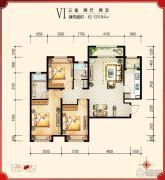 绿宸万华城3室2厅2卫120平方米户型图