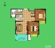 荣盛花语城2室2厅1卫81平方米户型图