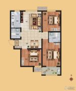 香榭丽都3室2厅2卫104平方米户型图