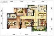 中虹国际3室2厅2卫95平方米户型图