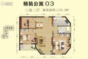 千禧・爱琴居3室1厅1卫123平方米户型图