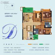 雅居乐依云小镇3室2厅2卫100平方米户型图