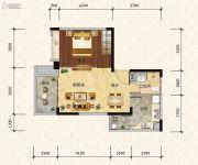 绿地新里缇香公馆1室2厅1卫58平方米户型图