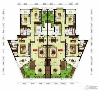 绿中海e3-e3(一层)平面图户型六室两厅