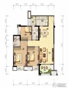 财信沙滨城市3室2厅2卫92平方米户型图