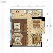金沙星城2室2厅1卫65平方米户型图