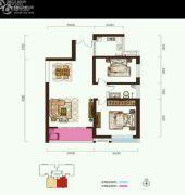 阳光台3652室2厅1卫88平方米户型图