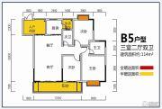 张坝天府花园3室2厅2卫114平方米户型图