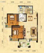福庆花雨树2室2厅1卫84平方米户型图