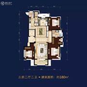 万科铂萃园3室2厅2卫180平方米户型图