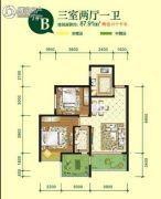 亿龙金河湾3室2厅1卫89平方米户型图