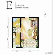 高远时光城1室1厅1卫49平方米户型图
