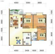龙郡3室2厅1卫103平方米户型图
