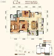同创金色明天2室2厅2卫107平方米户型图