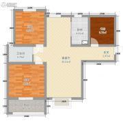 宏运海河湾2室1厅1卫74平方米户型图