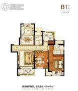 融创运河壹号府2室2厅2卫107平方米户型图