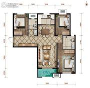 紫薇西棠3室2厅2卫117平方米户型图