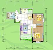 慢哉2室2厅1卫95平方米户型图